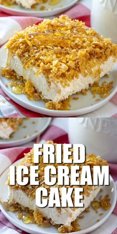 Fried Ice Cream Cake is made with softened ice cream, whipped topping, crushed corn flakes, cinnamon and drizzled with honey and chocolate. #nobake #friedicecream