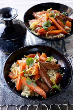 Dupleix's apricot and ginger couscous with roast carrots and merguez ...