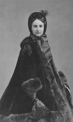 Civil War era winter wear. Do not confuse the black mink fur with mourning dress-black was sometimes a common color just because in that era.