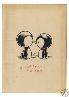 Penguin love, so sweet! Kurt Halsey penguins! Cute tattoo, I would give one a bow tie:)