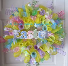 FREE SHIPPING..EASTER Deco Mesh Wreath. $79.00, via Etsy.