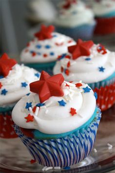 Red, white and blue cupcakes with layered colors inside!