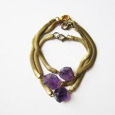 NEW - amethyst and vintage brass chain bracelet. $35.00, via Etsy.