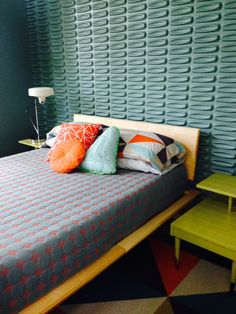 Super funky midcentury modern bedroom design. This photo was sent in by a happy customer, who's bed made the perfect centerpiece for her retro inspired retreat.