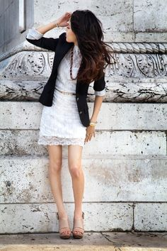 Blazer over lace.