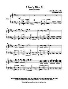 I Really Want It - A Great Big World free piano sheet music at www.PianoBragSongs.com.