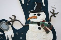 Such a unique design! love it! Penny Rug Wool Felt Christmas Stocking - Finished Design - Frosty Toe. $70.00, via Etsy