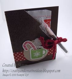 Cute little Fast and Easy Hot Cocoa Gift Card.  For all details on this card, see my blog craftyandcreativeideas.blogspot.com/2013/11/hot-chocolate-packet.html