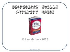 Dictionary Skills Activity Cards $3.50   # Pinterest++ for iPad #