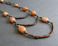 Ember Necklace - Antique Copper Branch Bib Necklace with Orange Aventurine and Green Turquoise Gemstones