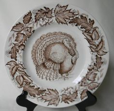 Thanksgiving Turkey Brown Transferware Plate by Clarice Cliff