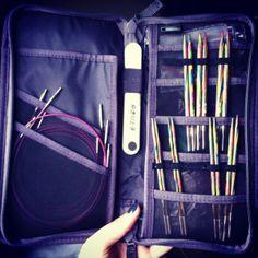 Muji passport wallet converted into an interchangeable knitting needle set case
