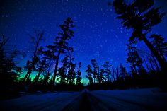 Northern lights on Gunflint Trail,   Grand Marais, Minnesota