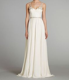 Beaded Strap Chiffon Wedding Dress | 40 Unique Wedding Dresses You Can Buy Online. There are some cute and inexpensive ones.