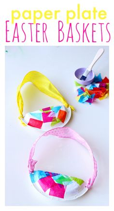 Paper Plate #Easter Baskets - seriously easy and adorable Easter #crafts for kids. #DIY