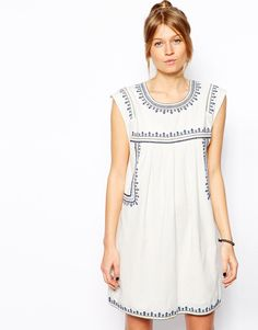 Mango Embroidered Smock Dress, $63.85