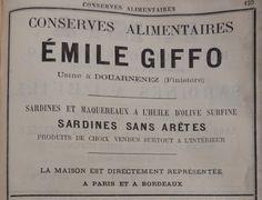 Douarnenez. Publicité Emile Giffo, conserves alimentaires, sardines et maquereaux. 1882.