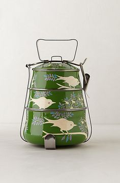 Handpainted Tiffin Carrier by Anthropologie