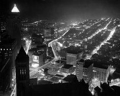 Circa 1950:Hill District at night