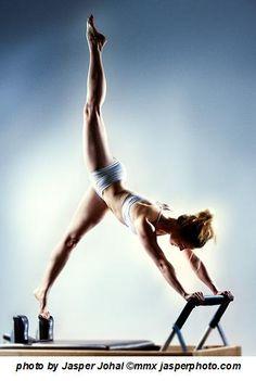 Pilates exercise on the reformer.