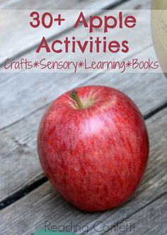 More than 30 kid's crafts, sensory play ideas, and learning activities with an apple theme.