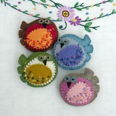 sew, idea, craft, folk art, little birds, ornament, felt birds, diy, felt birdi