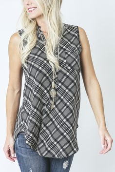 Plaid Mandarin Collar Tank