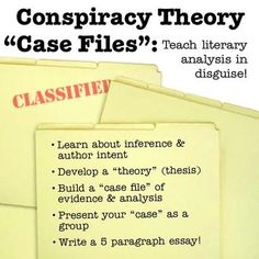 """ELA Unit that teaches literary analysis essay writing in disguise by building a """"case file"""" of evidence about the novel that gets turned into a group presentation and then an essay! Scaffold essay writing for grades 6-12 with CCSS argumentative writing AND speaking standards!"""