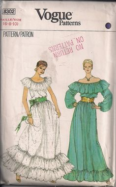 Vintage 80s Sewing Pattern Mexican-Style DRESS by HoneymoonBus on Etsy, $11.99