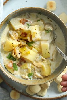 Clam chowder—use 3 cans of clams