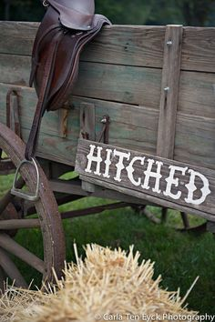 Country Wedding Sign. Hitched Sign. Recycled by TRUECONNECTION, $35.00