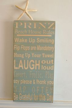 Beach House family rules subway style art wood sign - personalized - beach house blue