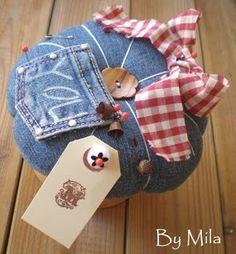 books, pin pincushion, bells, jeans, pin cushions to make, recycled denim, blues, sew pincushion, blue jean pocket crafts