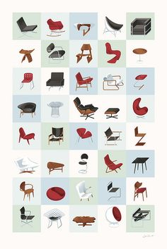 Mid-Century Modern Furniture Poster.