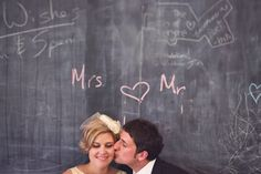 Charming vintage wedding in a school house with chalkboard details