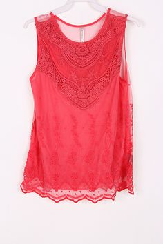 Lace Anna Top in Strawberry