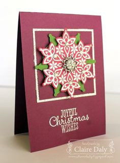 Festive Flurry ornament and matching Christmas card. Claire Daly, Stampin' Up! Demonstrator Melbourne Australia. #ornament #stampinup