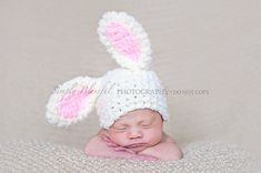Baby Boy Hat or Baby Girl Hat Fuzzy Bunny Beanie Easter Photography Prop Ready Item on Etsy, $16.99