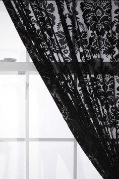 black burnout curtains home colors, burnout curtain, living rooms, urban outfitters, lace curtains, black white, damask velvet, color black, bedroom curtains