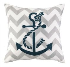 Embroidered Grey Chevron and Navy Blue Anchor Pillow