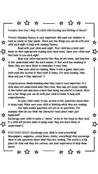 Great parent letter for parent night, or open house! Tells parents how to help their children with reading and writing at home!