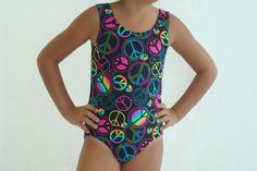 New girls gymnastic leotard black rainbow peace print | eBay