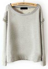 #SheInside  Light Grey Long Sleeve Rhinestone Pullover Sweatshirt