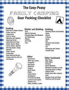 My Easy-Peasy Family Camping Checklist and a Free Printable Version for You! - The Creek Line House