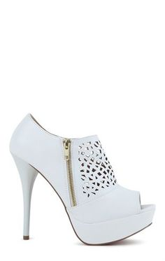 Deb Shops Peep Toe Platform Bootie with Perforated Upper and Side Zipper $30.00