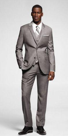 Three Piece Suit. fashion, attir, grey suits, style, dress, suits for groom, men, express suits, piec suit