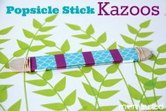 So much fun!  Make your own kazoo with popsicle sticks and rubber bands!!