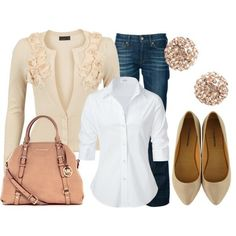 White shirt shape excellent - beige, white & pale peach purse - dark jean as base