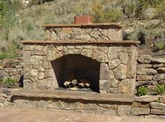fireplace in retaining wall