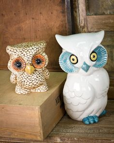 Ceramic Owl Cookie Jars from Earthbound Trading Co.